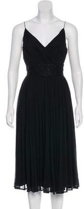 Carmen Marc Valvo Pleated Silk Dress