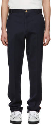Thom Browne Navy Stripe Chino Unconstructed Trousers