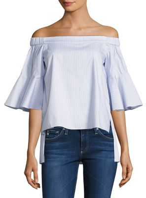 Prose & Poetry Shane Striped Off-The-Shoulder Bell Sleeves Cotton Top $275 thestylecure.com
