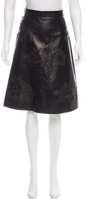 Rochas Leather Laser Cut Skirt