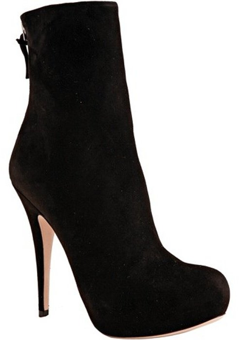 Miu black suede zip back ankle boots