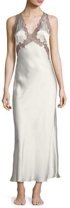Josie Natori Lillian Long Silk Nightgown
