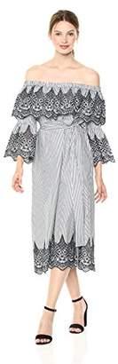 BCBGMAXAZRIA Azria Women's Off The Shoulder Embroidered Dress