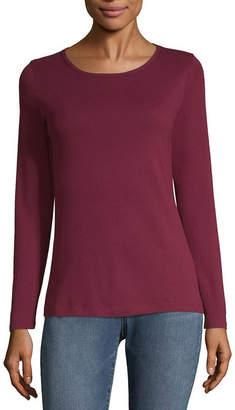 Liz Claiborne Long Sleeve Crew Neck T-Shirt-Womens