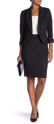 Adrianna Papell Amanda & Chelsea Crosshatch 3/4 Length Ponte Knit Pencil Skirt