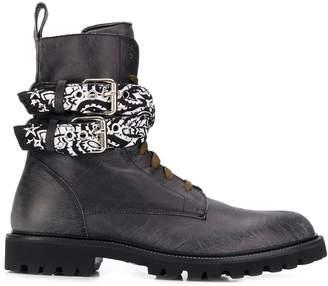 Amiri bandana strapped lace-up boots