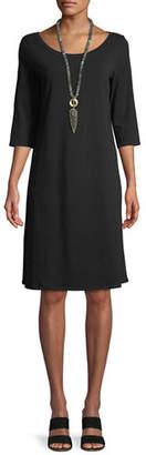 Eileen Fisher 3/4-Sleeve Organic Cotton Stretch A-line Dress, Petite