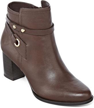 LIZ CLAIBORNE Liz Claiborne Babin Heeled Ankle Booties - Wide $100 thestylecure.com