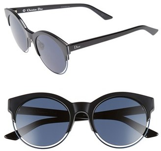 Women's Dior Siderall 1 53Mm Round Sunglasses - Black/ Blue