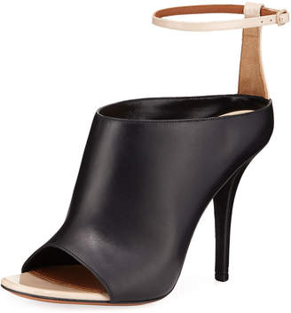 Givenchy High-Vamp Leather Ankle-Wrap Sandals