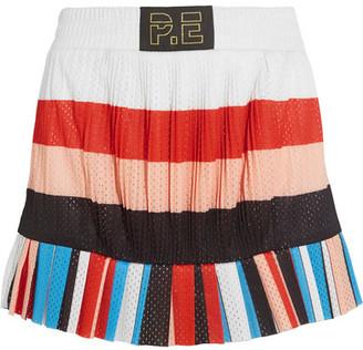 P.E Nation The Heat Pleated Striped Mesh Mini Skirt - White