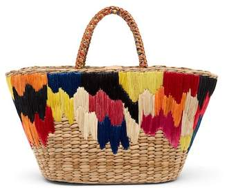 ARANAZ IKAT Half Embroidered Straw Tote Bag