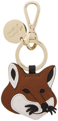 MAISON KITSUNÉ Brown Leather Fox Head Keychain
