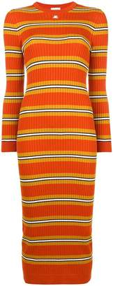 Courreges striped fitted knitted dress
