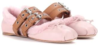 Miu Miu Shearling-lined leather ballerinas