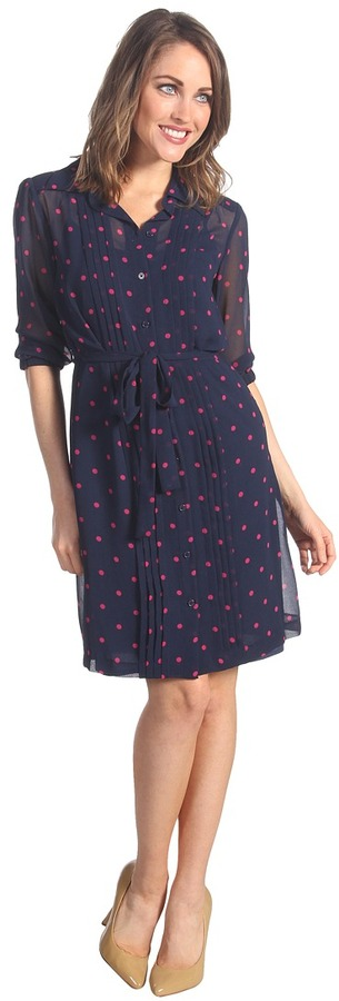 Donna Morgan Shirt Dress With Stitched Down Tucks (Navy/Pink) - Apparel