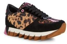Dolce & Gabbana Leopard Suede Flatform Sneakers