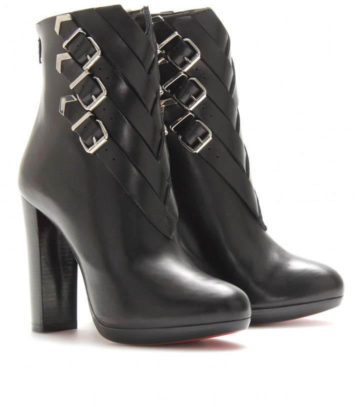 Christian Louboutin TROOP 120 LEATHER BOOTS WITH BUCKLE DETAIL