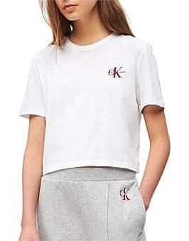 Calvin Klein Monogram Embroidery Cropped Tee
