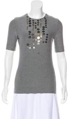 Akris Punto Embellished Short Sleeve Top