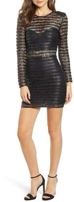 Elliatt Cyanite Faux Leather & Lace Illusion Dress