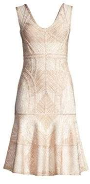 Herve Leger Sleeveless Flounce Bandage Dress