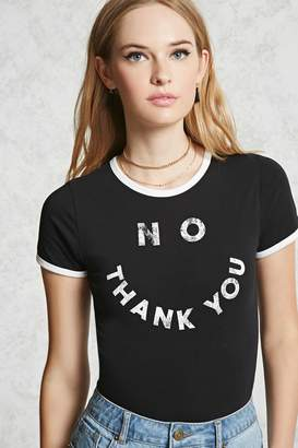 Forever 21 No Thank You Ringer Bodysuit