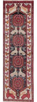"World Menagerie Putnam Geometric Navy Blue Persian Oriental Hand-Knotted Wool Runner Rug 6'8""X1'11"" World Menagerie"