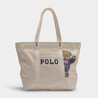 Polo Ralph Lauren Small Pp Tote Teddy Bear In Cream Canvas