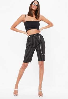 Missguided Black Pinstripe Chain Detail Board Shorts, Black