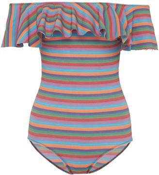 Lisa Marie Fernandez 'Mira' flounce stripe off-shoulder one-piece swimsuit