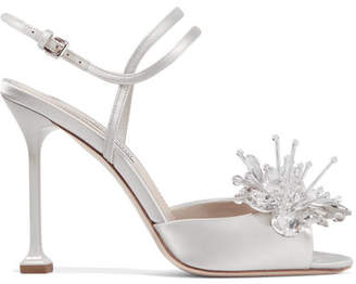 Crystal-embellished Satin Sandals - Silver
