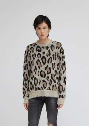 R 13 Leopard Cashmere Crewneck Sweater