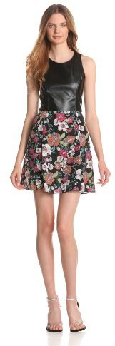 Eight Sixty Women's Alice Floral Print Leather Combo Dress