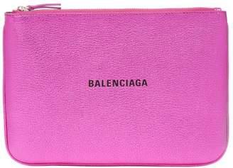 Balenciaga Metallic Leather Logo Pouch - Womens - Pink