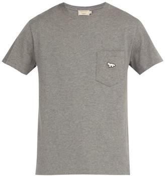 MAISON KITSUNÉ Tricolour Fox Patch Crew Neck Cotton T Shirt - Mens - Charcoal
