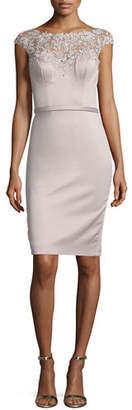 La Femme Beaded Cap-Sleeve Satin Cocktail Dress $350 thestylecure.com