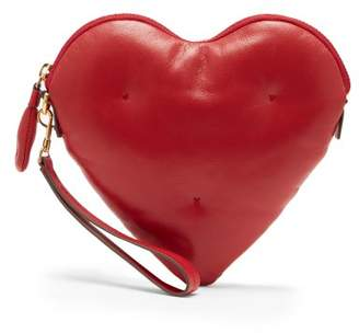 Anya Hindmarch Heart Chubby Leather Clutch - Womens - Red