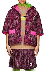 Prada Women's Logo Wool Tweed Coat-Pink