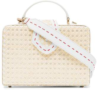 Mehry Mu white Fey large leather straw box bag
