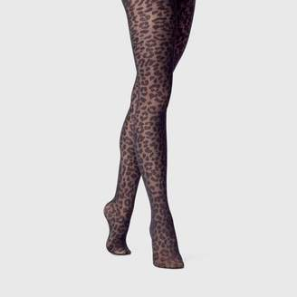 A New Day Women's Leopard Sheer Tights Black