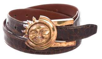 Kieselstein-Cord Sterling Silver Buckle Alligator Belt