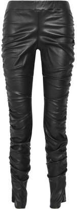 Orshen Ruched Leather Leggings - Black