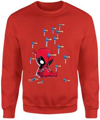 Marvel Deadpool Cartoon Knockout Sweatshirt - Red