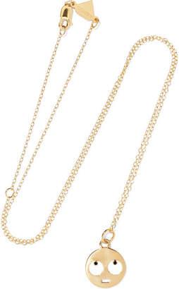Alison Lou Medium Eye Roll 14-karat Gold, Diamond And Enamel Necklace