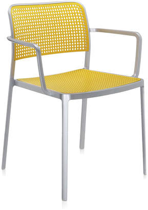 Kartell Audrey Shiny Chair With Arms - Aluminium/Yellow
