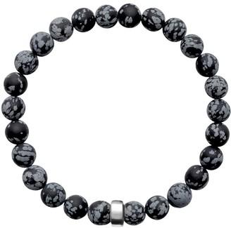 A+ro Ora Pearls ARO Men's Snowflake Obsidian Bracelet Silver Bead - Large