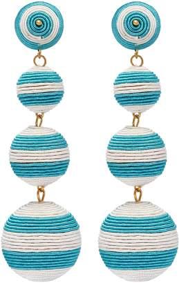 Kenneth Jay Lane Stripe threaded sphere clip drop earrings