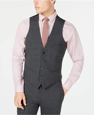 Bar III Men's Slim-Fit Active Stretch Gray Windowpane Sharkskin Suit Vest