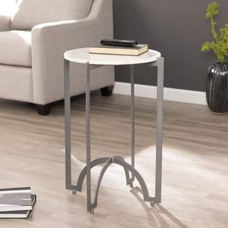 Southern Enterprises Galdies Round Metal Accent Table w/ Marble Top, Gray
